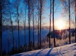 Winter view over lake Fryken in rural Varmland, Sweden