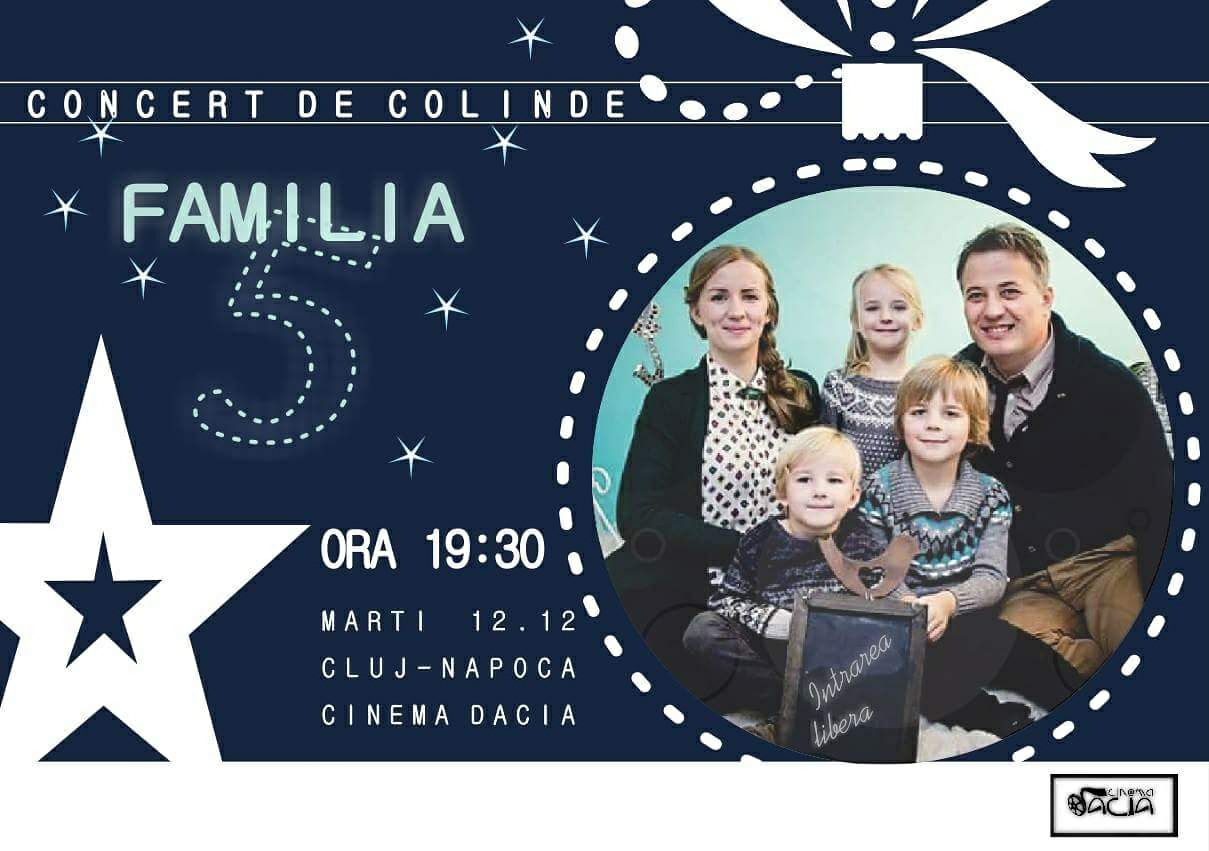 Concert de colinde: Familia 5 in sala mare de la Cinema Dacia, Cluj.